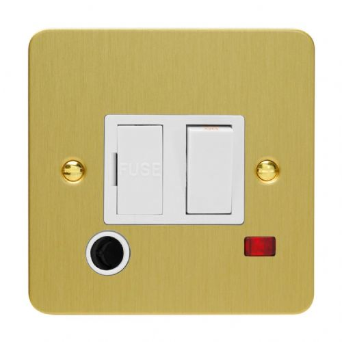 Varilight XFB6FONW Ultraflat Brushed Brass 1 Gang 13A Switched Fused Spur + Neon + Flex Outlet